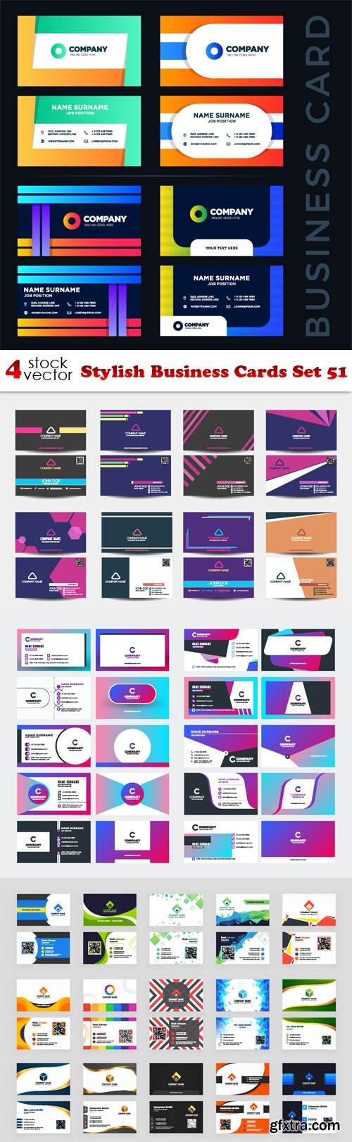 Vectors - Stylish Business Cards Set 51