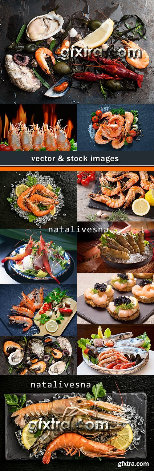 Fresh shrimps with lemon herbs and vegetables