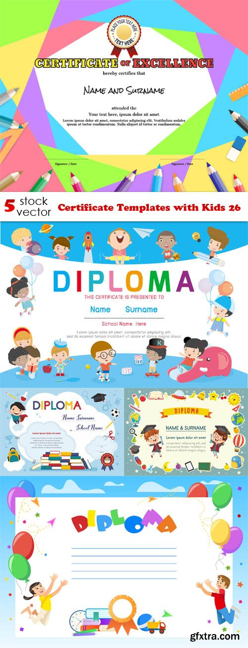 Vectors - Certificate Templates with Kids 26
