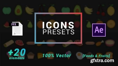 MotionArray Icons Presets - Fruits And Foods - After Effects Presets 203628