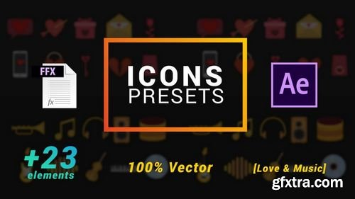 MotionArray Icons Presets - Love And Music - After Effects Presets 203625