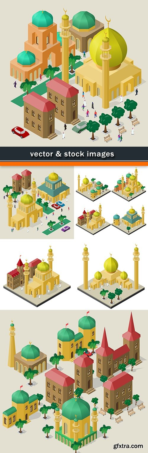 Muslim mosque tower with domes design isometric