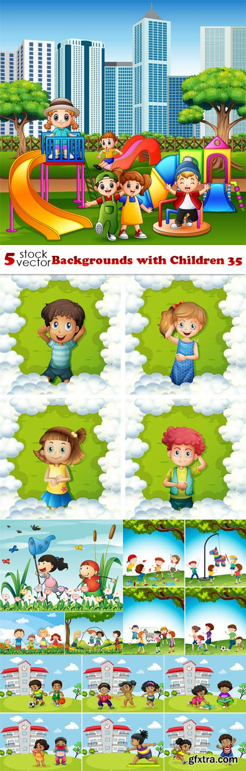 Vectors - Backgrounds with Children 35