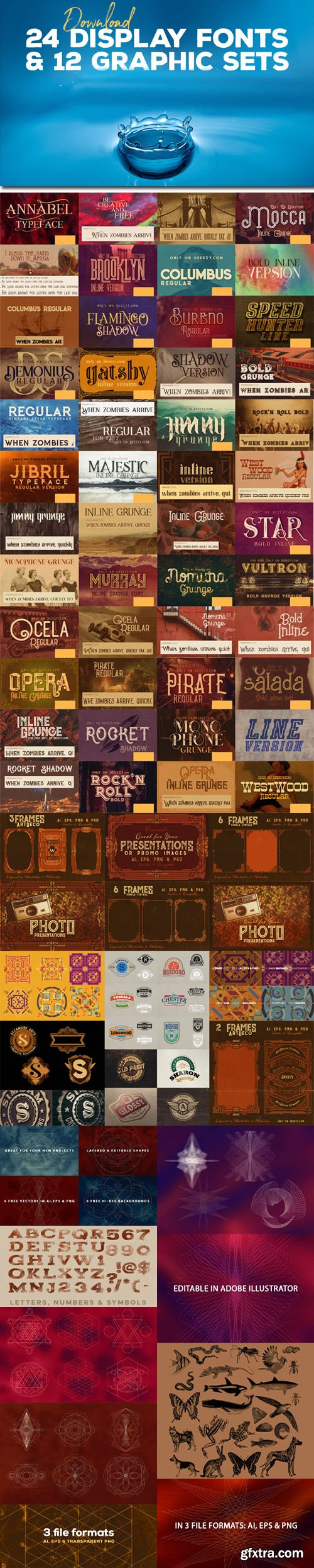 Awesome Bundle : 24 Creative Display Fonts + 12 Various Graphics Sets !