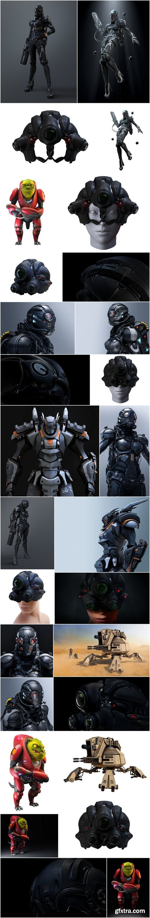 3D rendering cyborg girl, robot and space pirate - Set of 28xUHQ JPEG