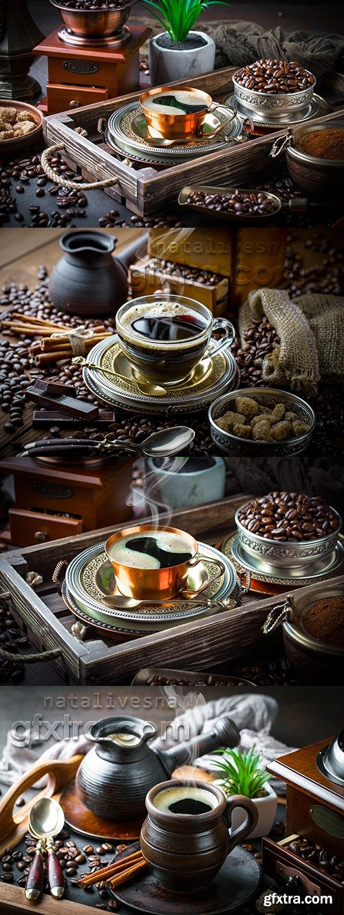 Hot coffee and fragrant coffee beans photo vintage