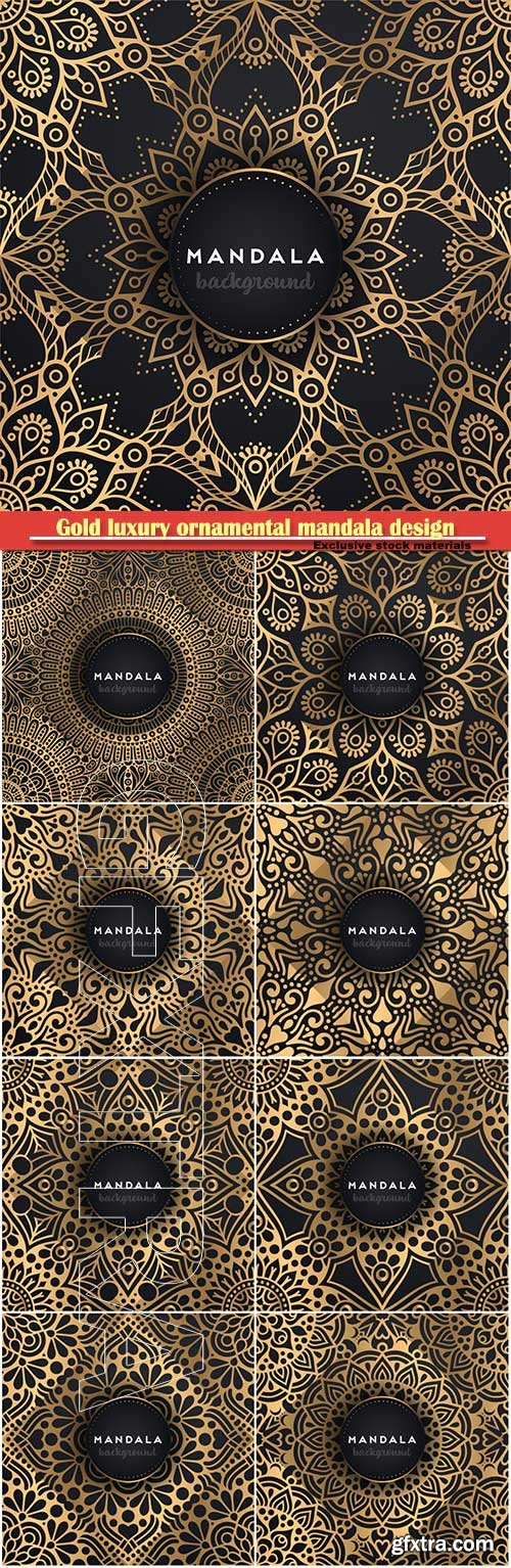 Gold luxury ornamental mandala design vector background