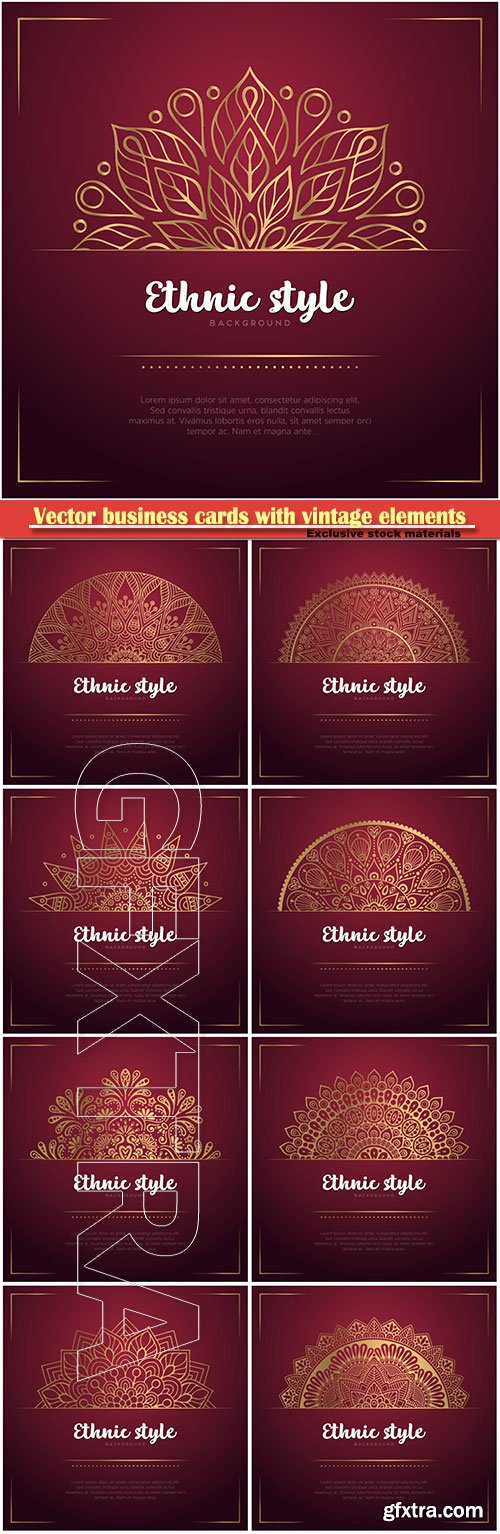 Vector business cards with vintage decorative elements with mandala