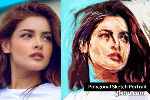 CreativeMarket - Polygonal Sketch Portrait 3383452