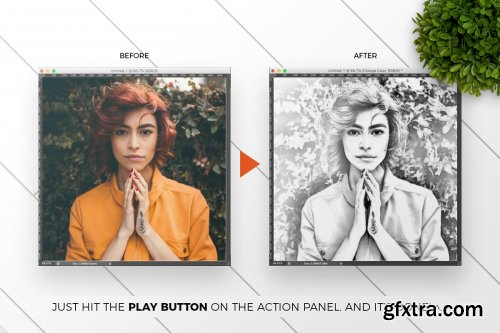 CreativeMarket - Pencil Drawing Photoshop Action 3385746