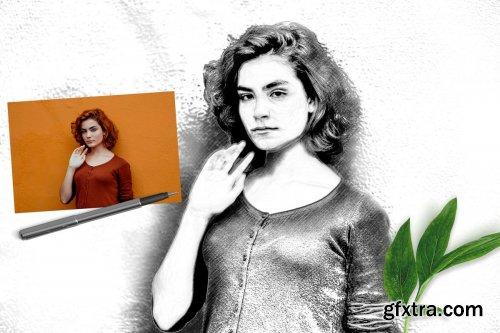 CreativeMarket - Pencil Drawing Photoshop Action 3385746