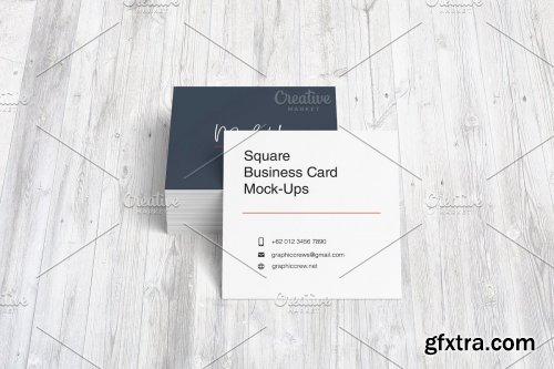 CreativeMarket - Square Business Card Mockup 3562425
