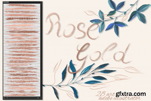 CreativeMarket - Rose Gold Brushes for Illustrator 3595429