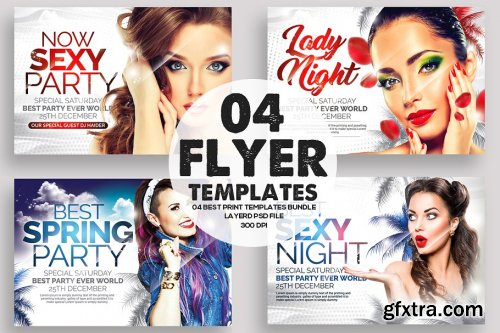 CreativeMarket - 4 Ladies Night Out Party Flyers 3582284