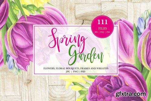 CreativeMarket - Spring Garden Watercolor Set 3605261