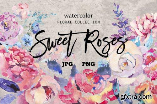 Watercolor Sweet Roses