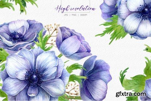 Watercolor anemone set