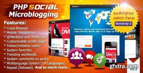 CodeCanyon - PHP Social Microblogging v3.1.1 - 5095921