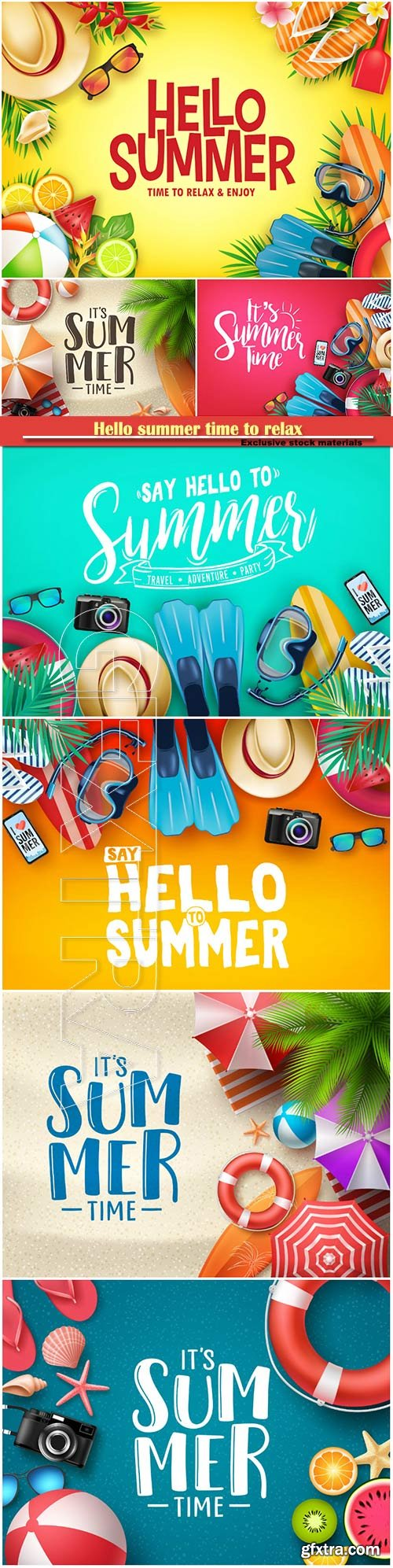 Hello summer time to relax and enjoy vector illustration # 2