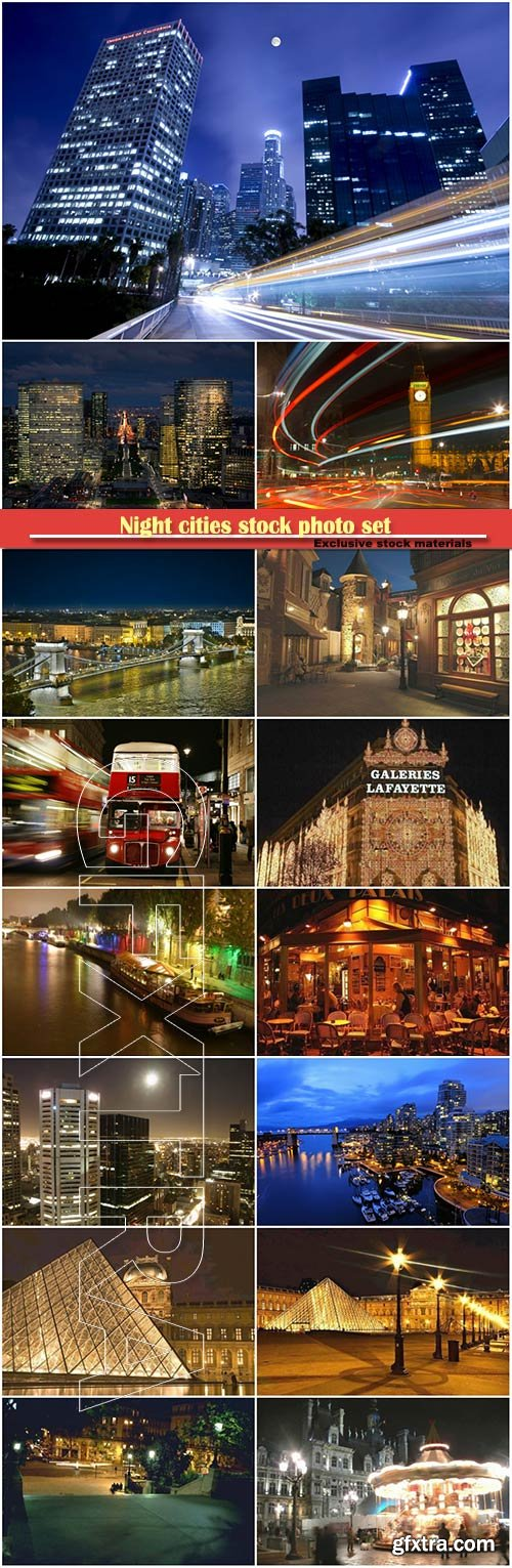 Night cities stock photo set