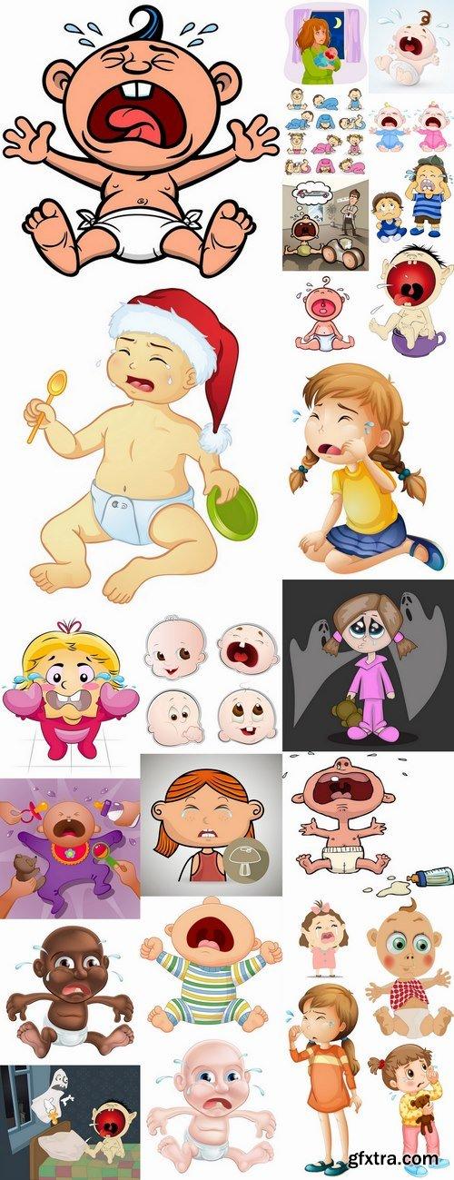 Crying child cartoon vector image 25 EPS