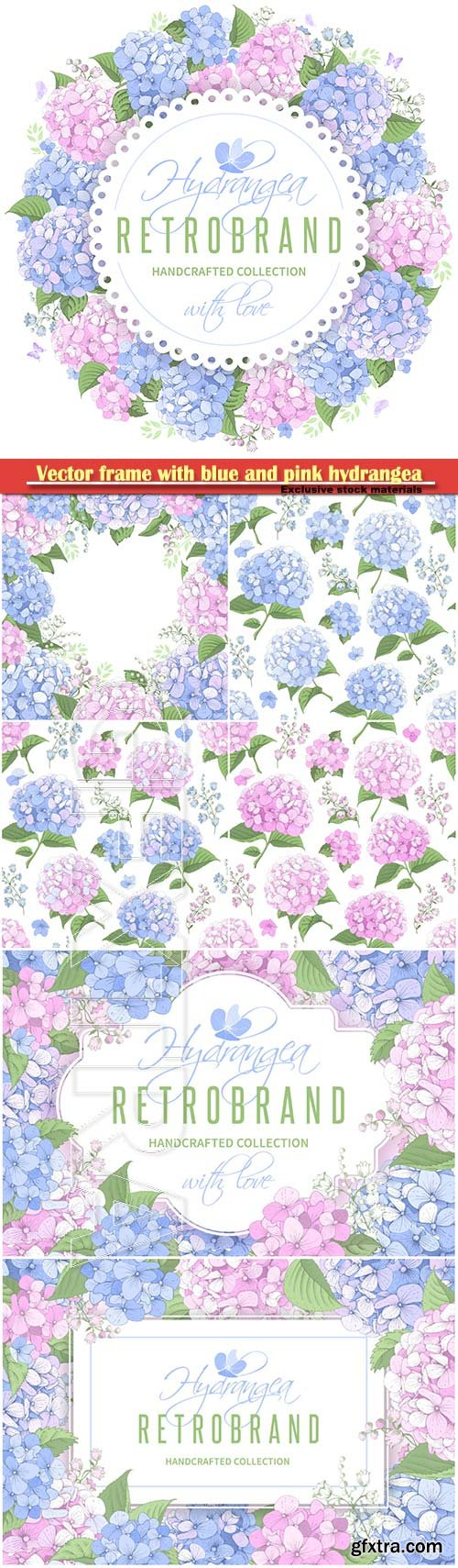 Vector frame with blue and pink hydrangea flowers