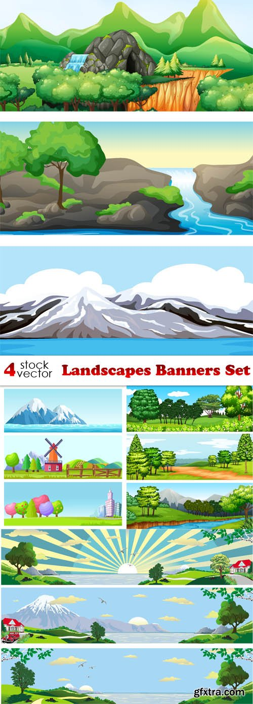 Vectors - Landscapes Banners Set