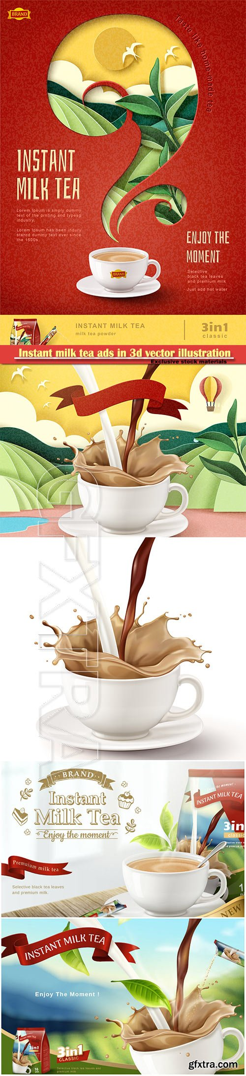 Instant milk tea ads in 3d vector illustration
