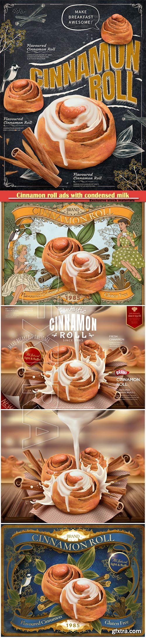 Cinnamon roll ads with condensed milk in 3d vector illustration