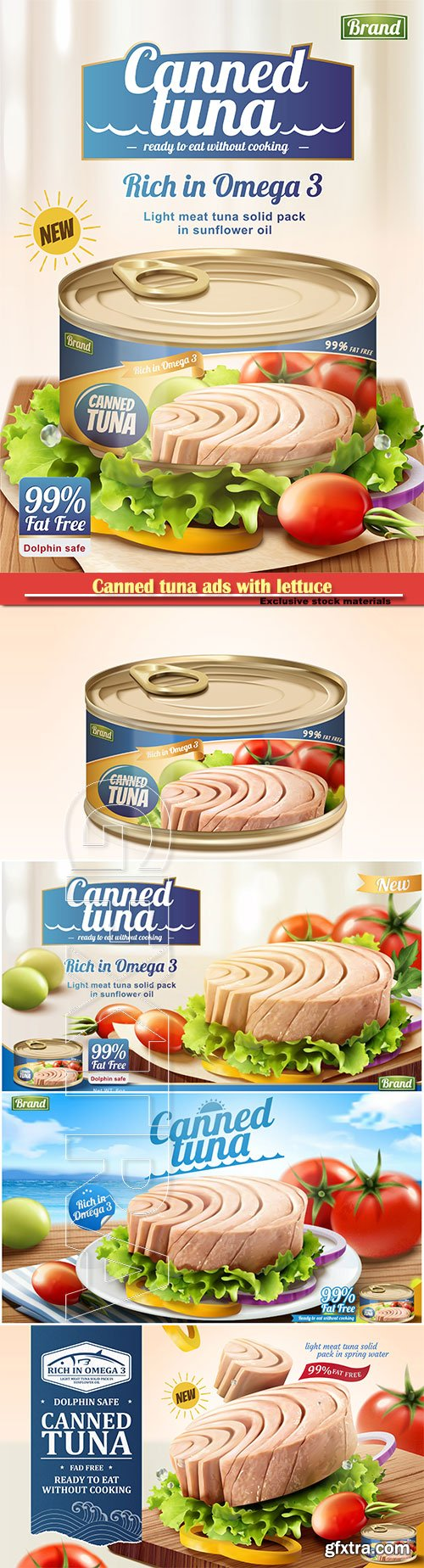 Canned tuna ads with lettuce and tomato in 3d illustration