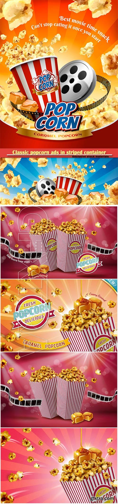 Classic popcorn ads in striped paper container, 3d vector illustration