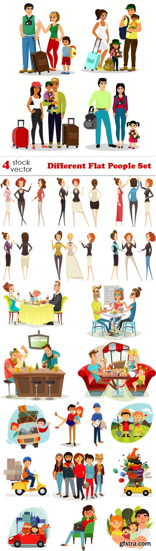 Vectors - Different Flat People Set