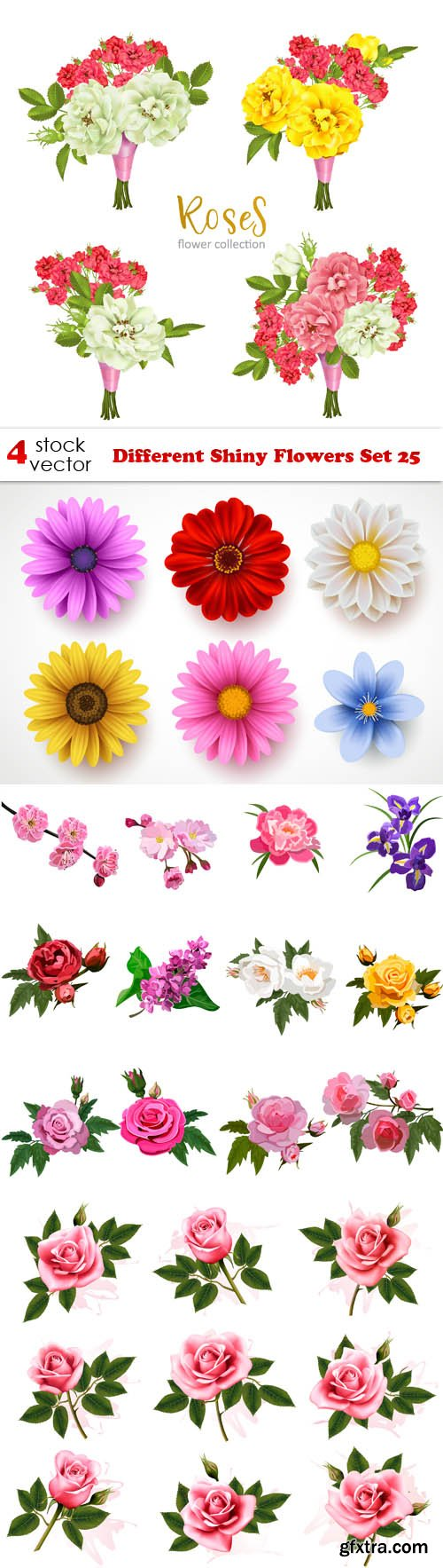 Vectors - Different Shiny Flowers Set 25