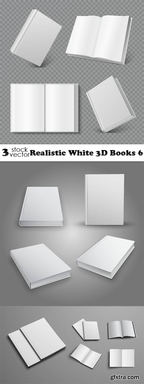 Vectors - Realistic White 3D Books 6