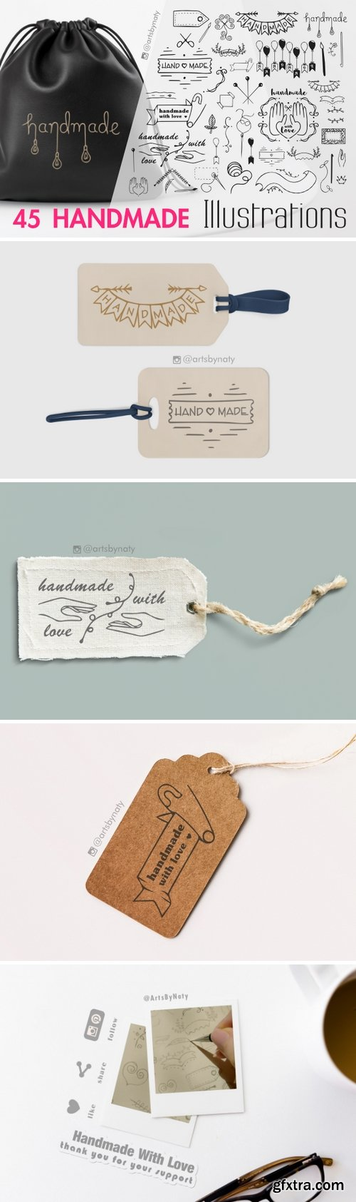 45 Handmade SVG Illustrations for Labels and Tags