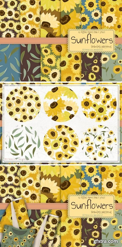 Sunflowers - Seamless Patterns