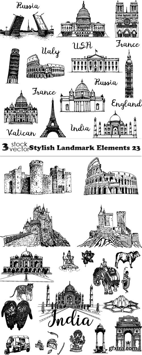 Vectors - Stylish Landmark Elements 23