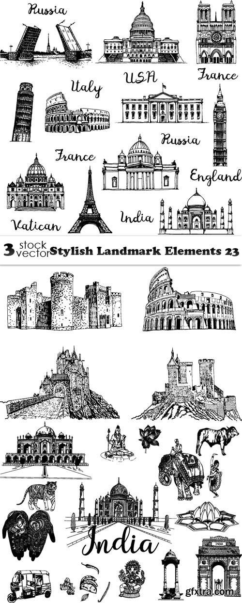 Vectors - Stylish Landmark Elements 23