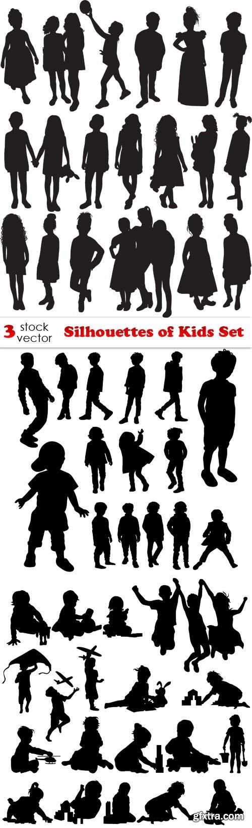 Vectors - Silhouettes of Kids Set