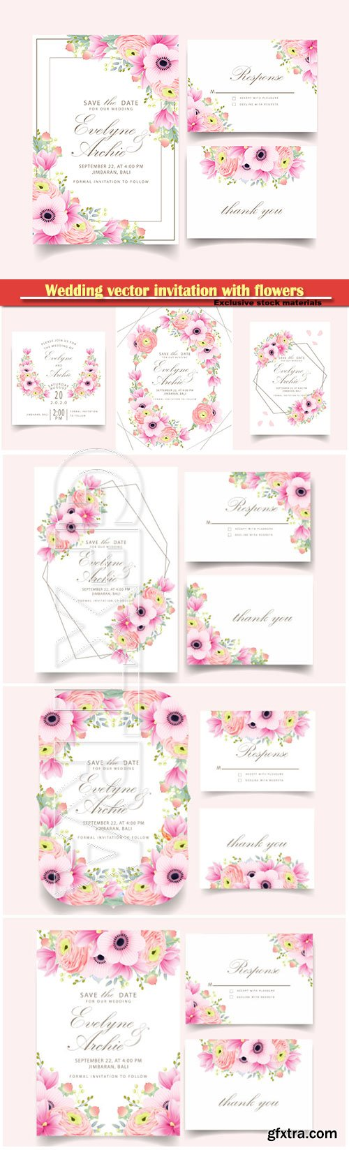 Wedding vector invitation with beautiful flowers