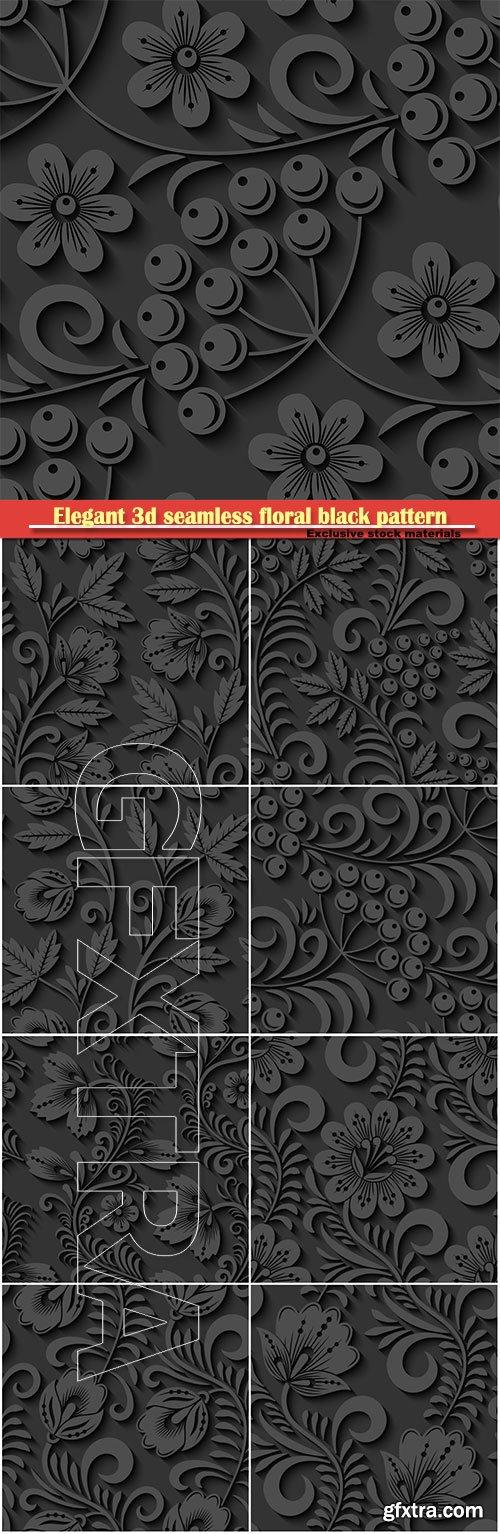 Elegant 3d seamless floral black pattern in vector Illustration