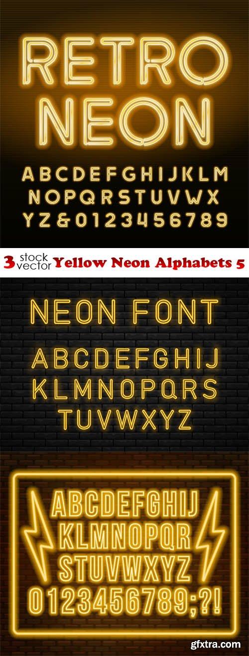 Vectors - Yellow Neon Alphabets 5
