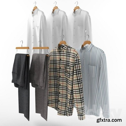 A set of mens clothes on hangers