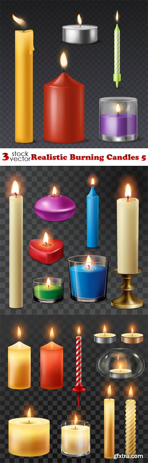 Vectors - Realistic Burning Candles 5
