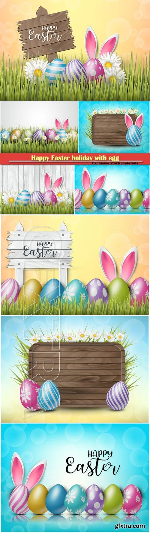 Happy Easter holiday with egg and spring flower vector illustration # 6