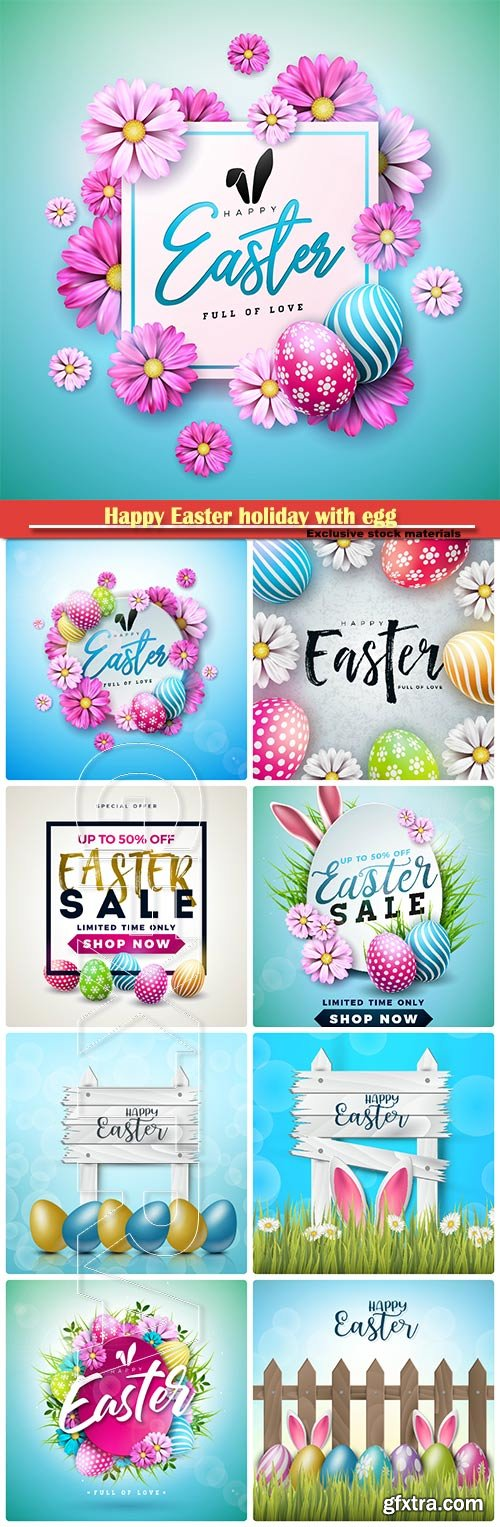 Happy Easter holiday with egg and spring flower vector illustration # 7