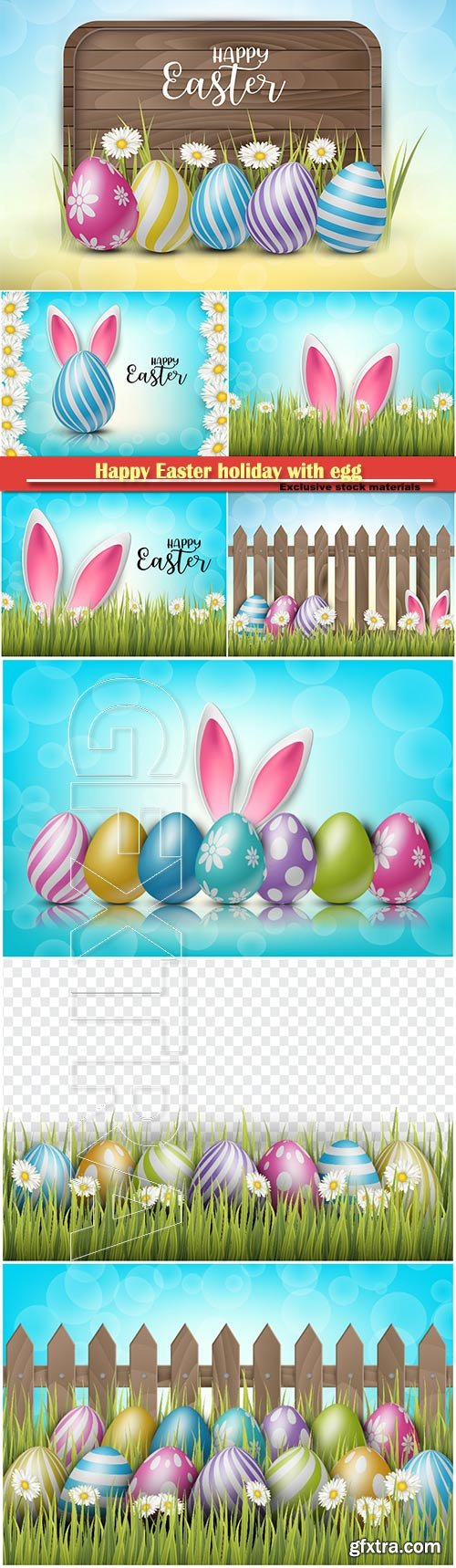 Happy Easter holiday with egg and spring flower vector illustration # 8