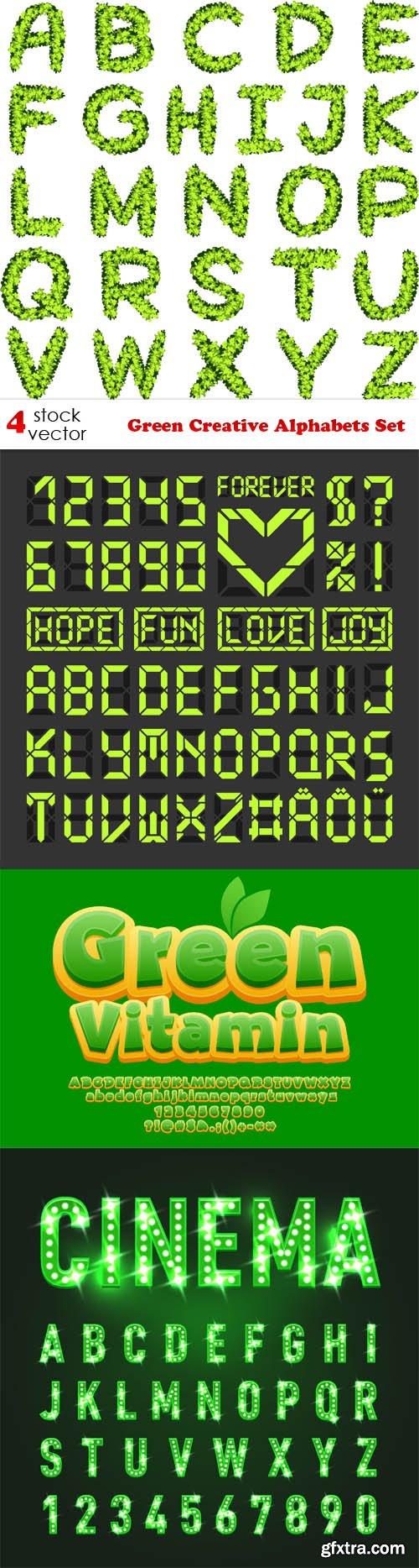 Vectors - Green Creative Alphabets Set