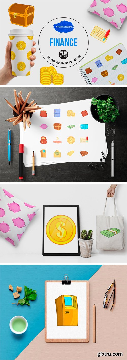 Designbundles - Finance Icons Set, Cartoon Style 94558