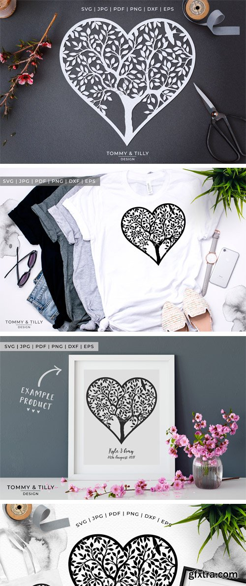 Designbundles - Heart Tree - Papercut Template 214570